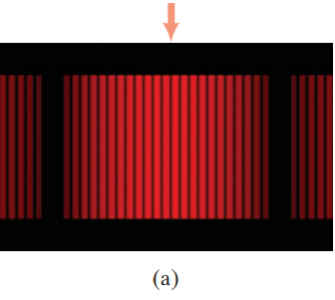 (a) Interference fringes produced by a double-slit experiment and detected by photographic film placed on the viewing screen. The arrow marks the central fringe.